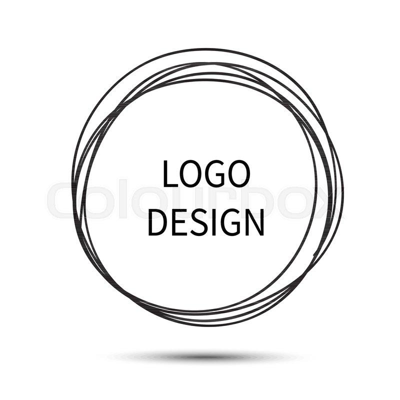 800x800 Logo Design. Vector Hand Drawn Circle. Doodle Sketch Scribble