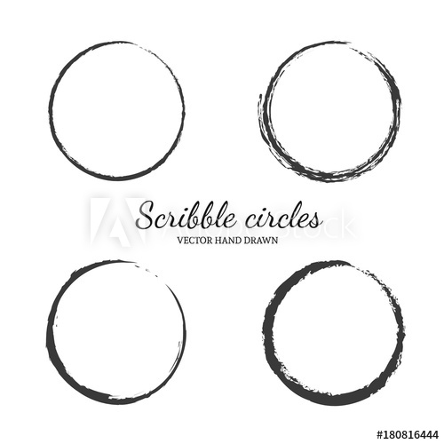 500x500 Set Of Vector Hand Drawn Circles In Sketch Drawing Scribble Style