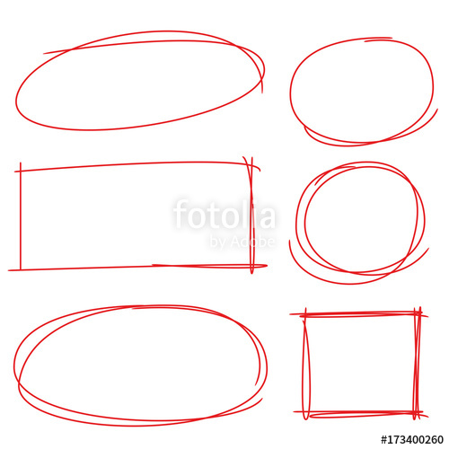 500x500 Red Hand Drawn Circle And Rectangle Markers Stock Image And