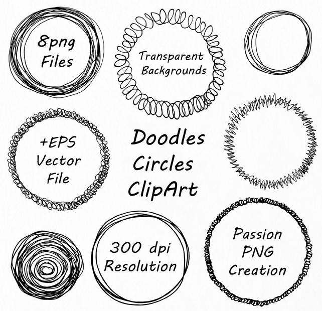 642x620 Doodle Circle Clipart Hand Drawn Circle Frames Clip Art Etsy