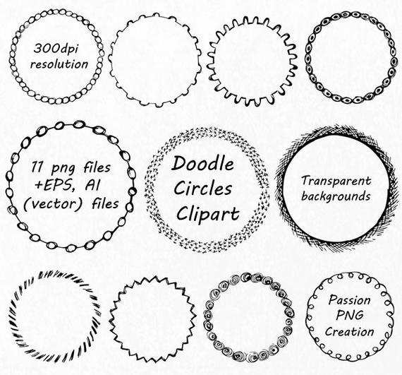 570x531 Doodle Circle Clipart Hand Drawn Circle Frames Clip Art Png Etsy