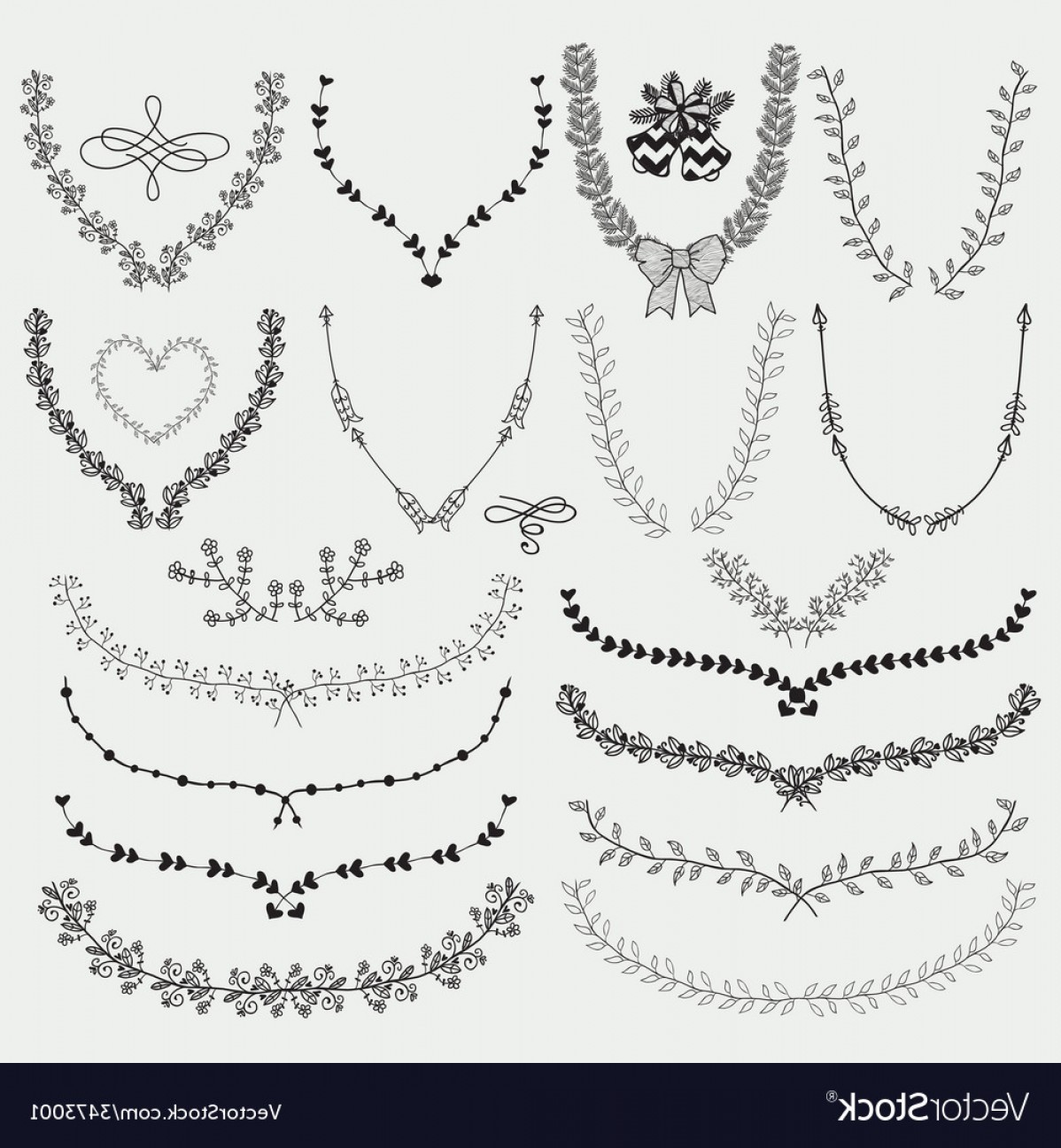 1198x1296 Hand Drawn Floral Wreaths Laurels Vector Sohadacouri