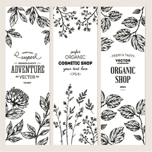 500x500 Hand Drawn Floral Banners Vectors Illustration 02 Free Download