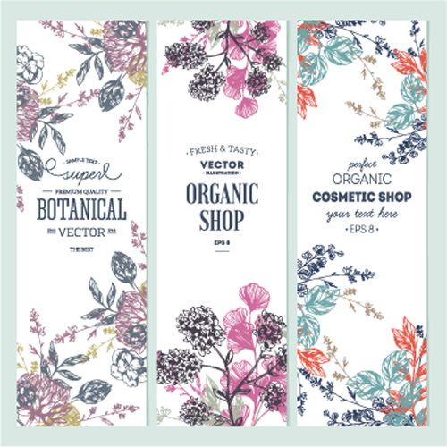 500x500 Hand Drawn Floral Banners Vectors Illustration 04 Free Download