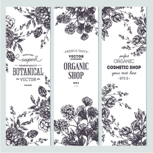 500x500 Hand Drawn Floral Banners Vectors Illustration 05 Free Download