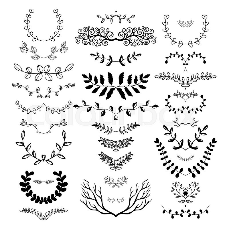 800x800 Hand Drawn Floral Borders, Dingbats, Dividers, Wreaths For The
