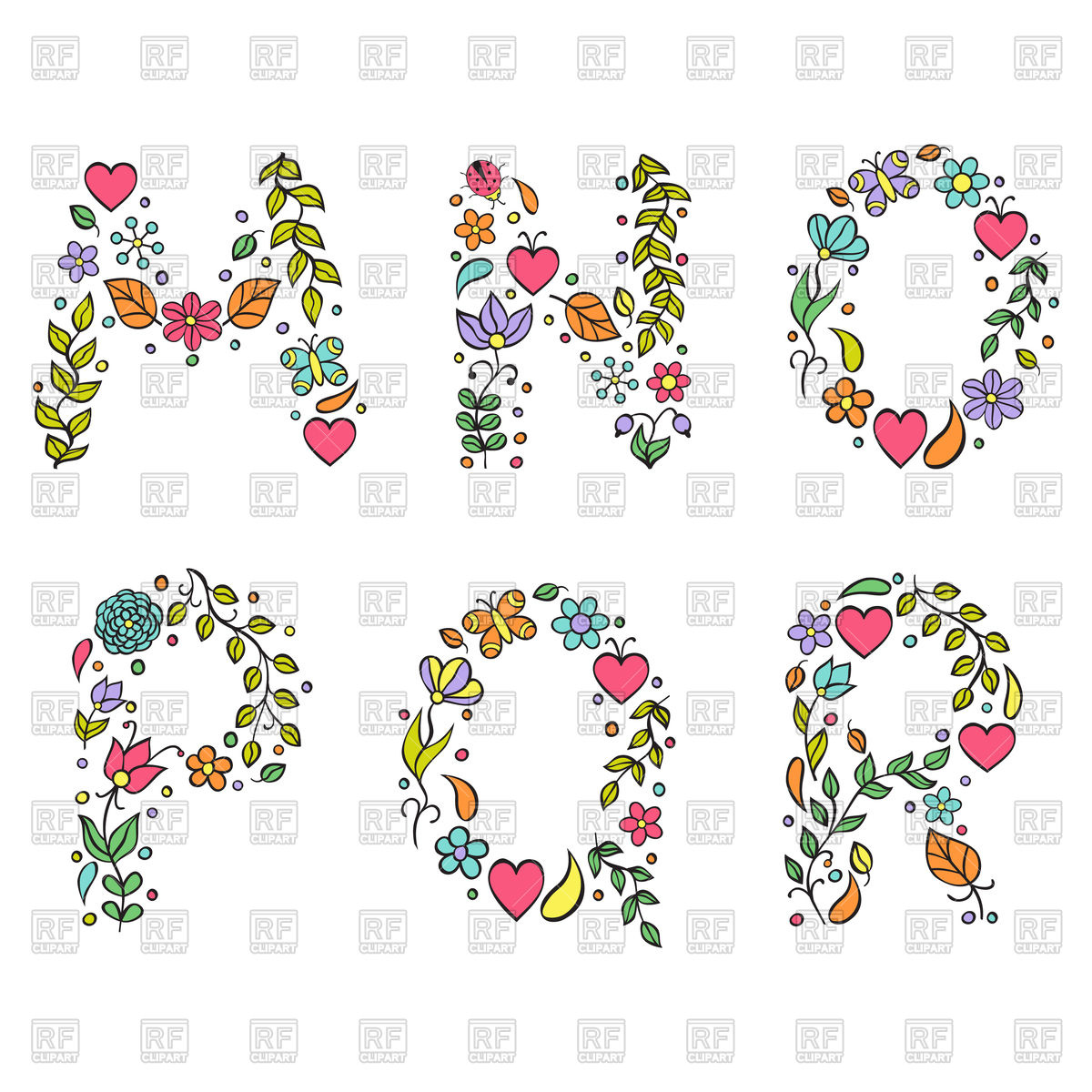 1200x1200 Hand Drawn Floral Letters M, N, O, P, Q, R Vector Image Vector