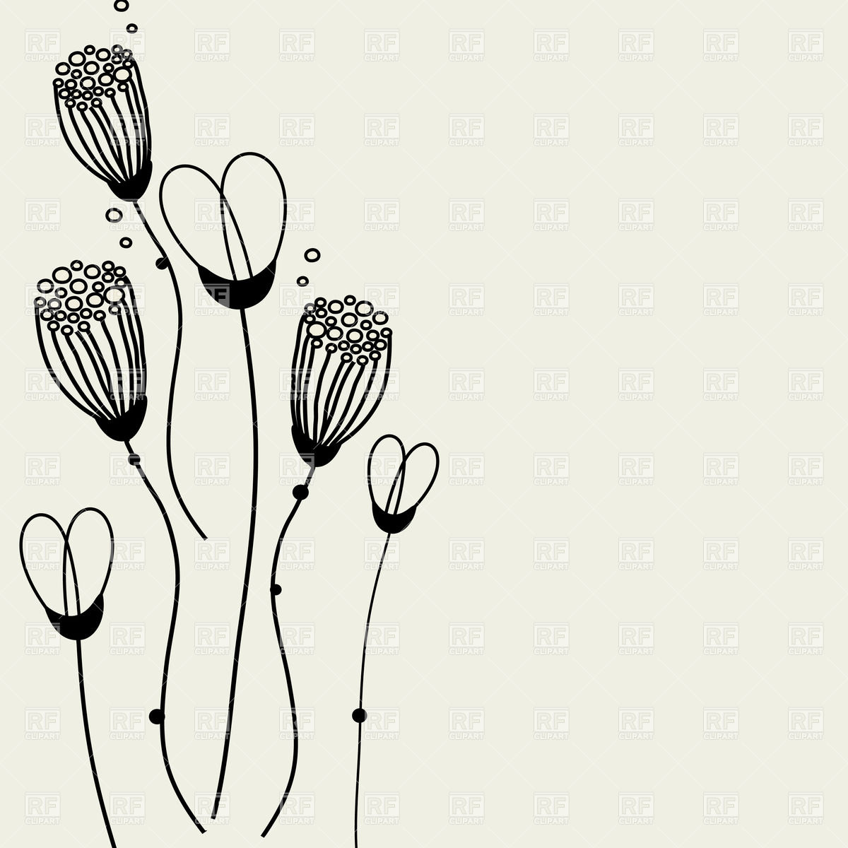 1200x1200 Set Of Stylized Hand Drawn Flowers Vector Image Vector Artwork