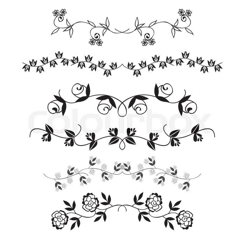 800x800 Flower Dividing Line, Hand Drawn Flower Line Border, Vector