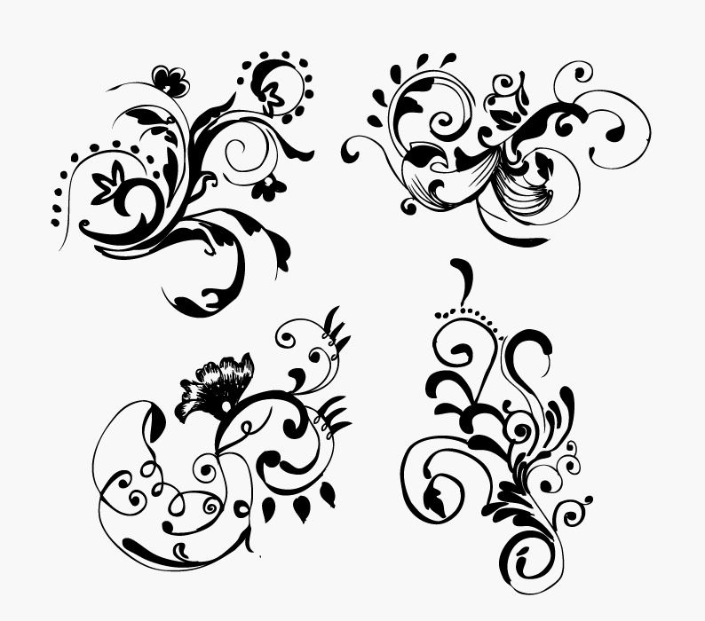794x700 Free Hand Drawn Floral Vector Graphics Free Vector Graphics