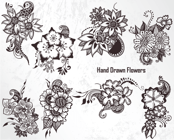 600x482 Hand Drawn Flowers Vector Set 1 Vector Amp Photoshop Brushes