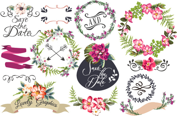 600x394 Hand Drawn Flower Frame With Ornament Elements Vector Free Vector