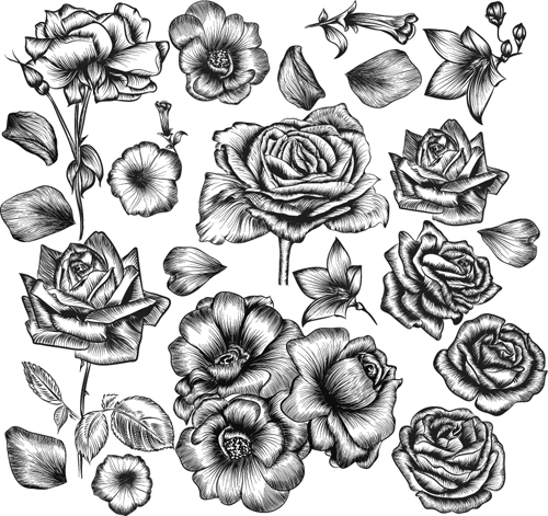 500x471 Hand Drawn Flower Vector Material Free Download