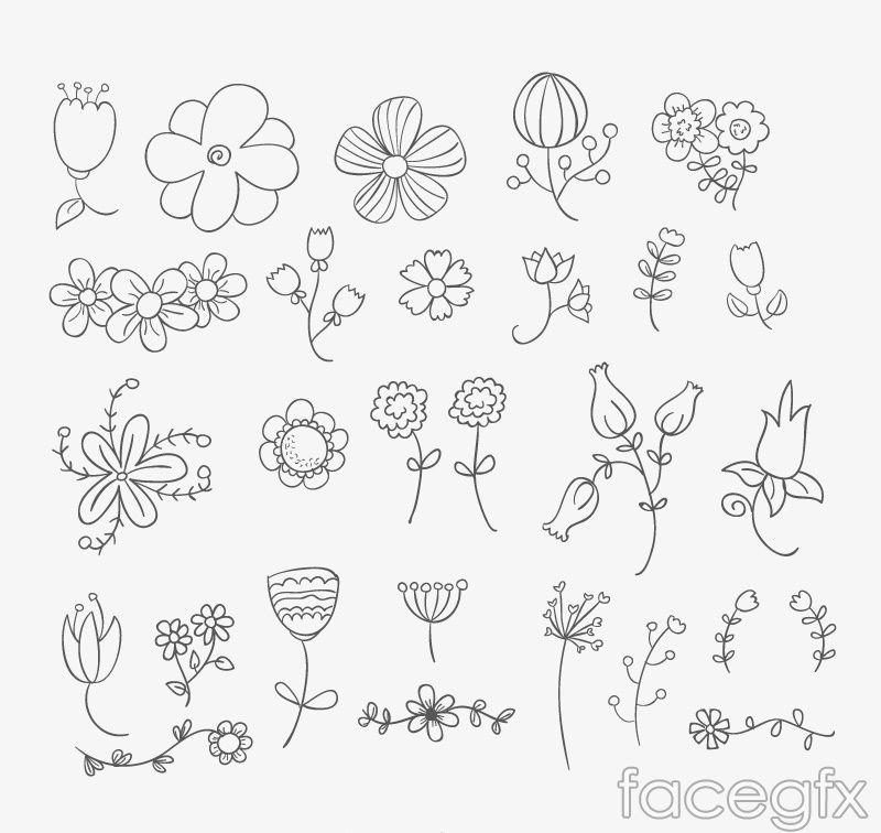 800x756 26 Design Hand Painted Flowers Vector Free Vectors