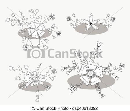 450x385 Hand Drawn Flowers Designs Vector Illustration.