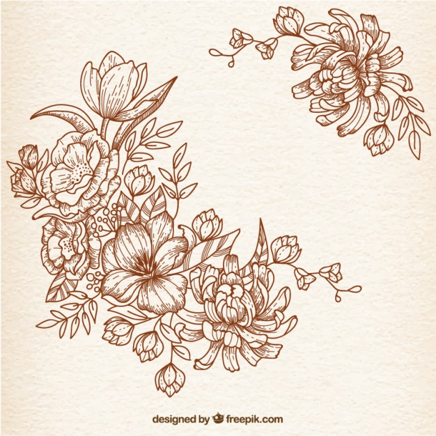 626x626 Hand Drawn Flowers In Retro Style Vector Free Download