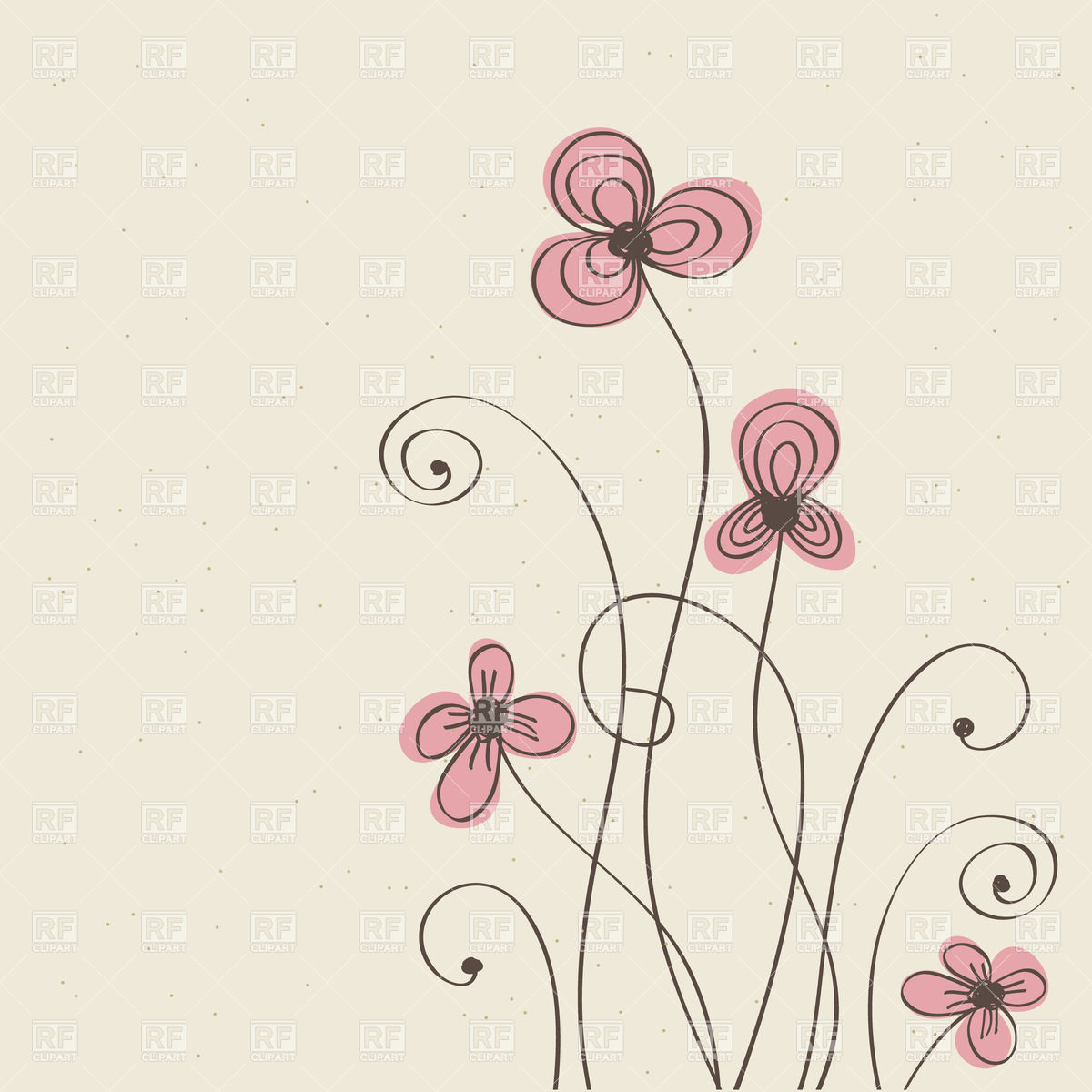 1200x1200 Hand Drawn Flowers With Long Stems Vector Image Vector Artwork