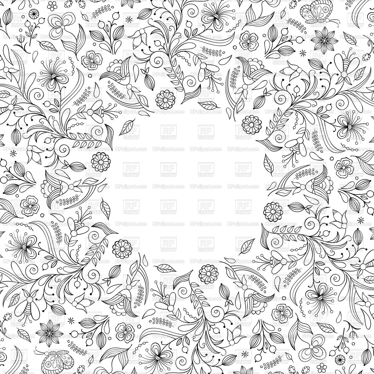1200x1200 Invitation Card With Hand Drawn Flowers.vector Illustration