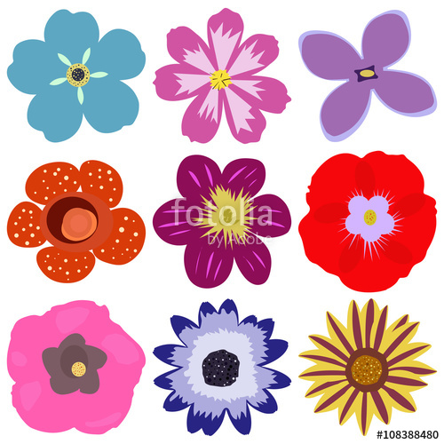 500x500 Isolated And Colorful Flower Vector Set. Flower Icon Collection