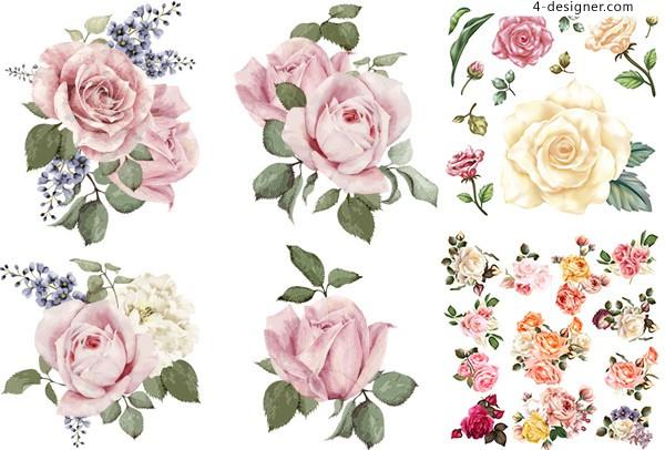 600x406 4 Designer Hand Drawn Flower Vector