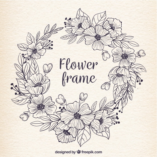 626x626 Retro Frame Of Hand Drawn Flowers Vector Free Download