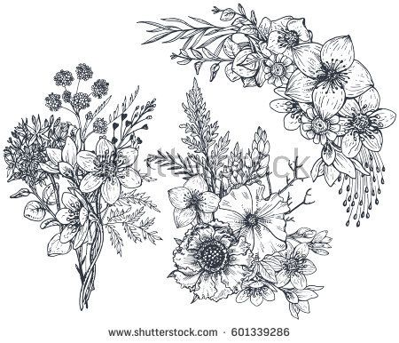 450x386 Set Of Floral Compositions. Bouquets With Hand Drawn Flowers And