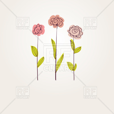 400x400 Three Simplistic Hand Drawn Flowers Vector Image Vector Artwork