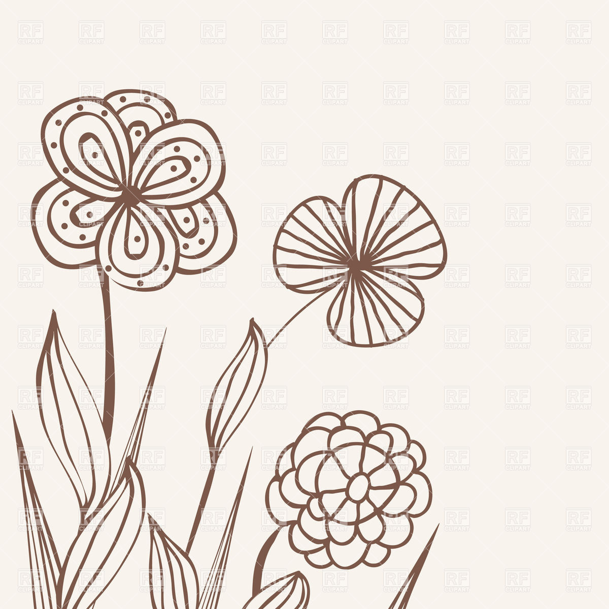 1200x1200 Three Stylized Hand Drawn Flowers Vector Image Vector Artwork Of