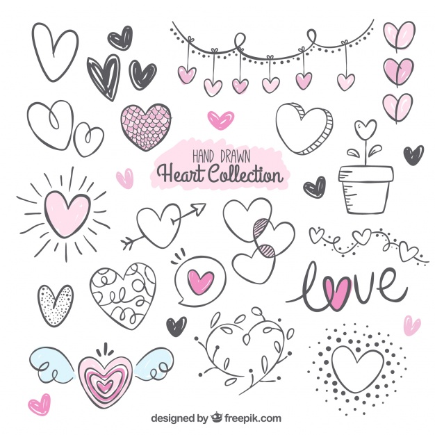 626x626 Fantastic Pack With Variety Of Hand Drawn Hearts Vector Free