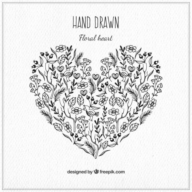 626x626 Floral Hand Drawn Heart Vector Free Download