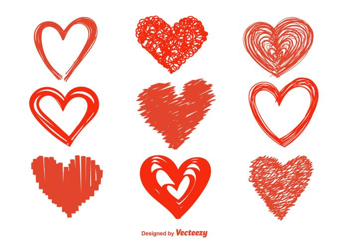 700x490 Hand Drawn Heart Vector Icons
