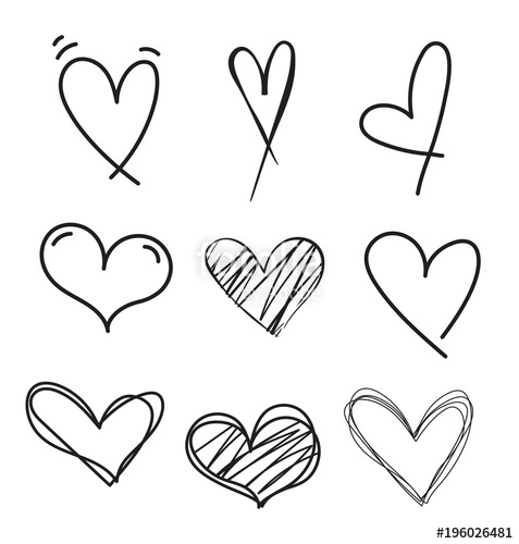 477x500 Hand Drawn Doodle Heart Vector Set.rough Marker Hearts Isolated On
