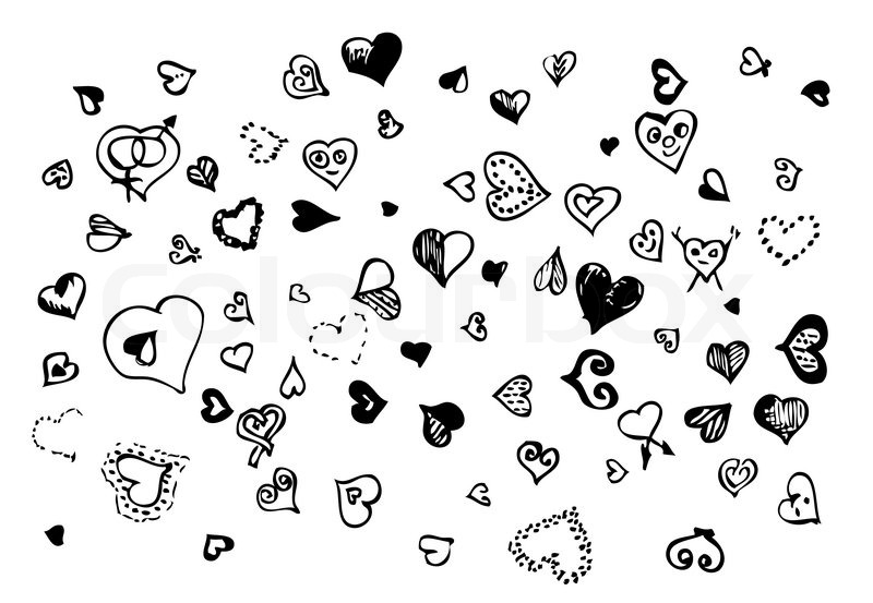 800x553 Hand Drawn Hearts Isolated On The White Background Stock Vector