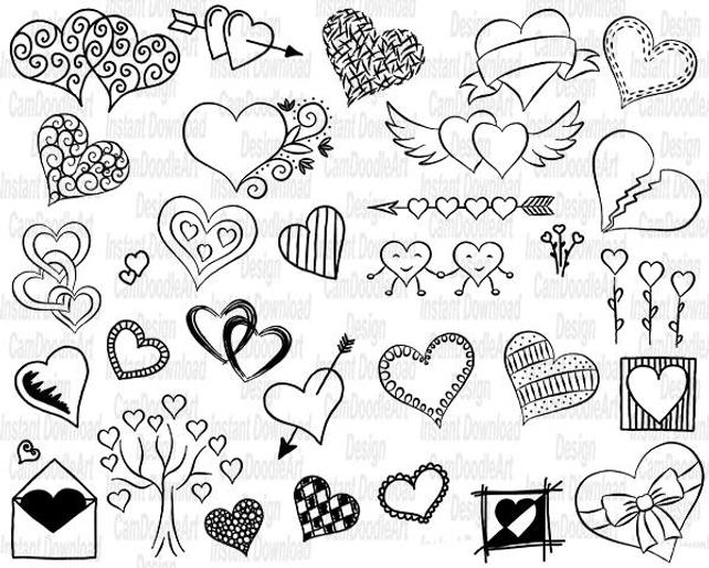642x514 32 Doodle Hearts Vector Pack Hand Drawn Doodle Clipart Hand Etsy