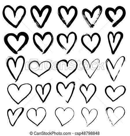 450x470 Set Of Hand Drawn Hearts. Vector Illustration.