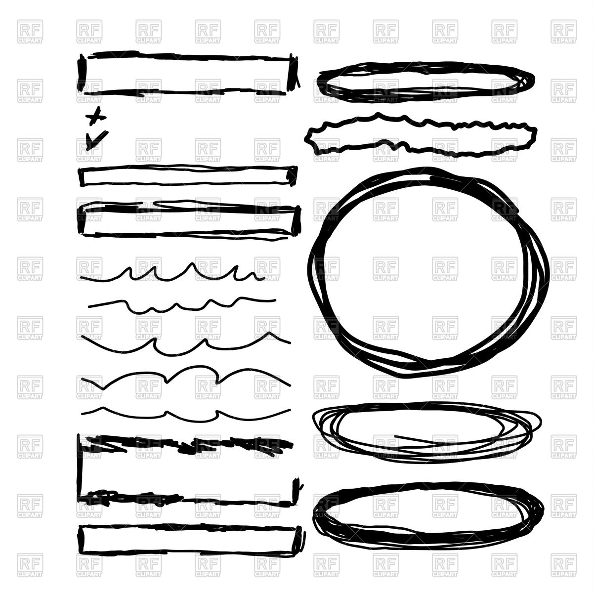 1200x1200 Hand Drawn Frames, Lines, Circle And Bubble Vector Image Vector