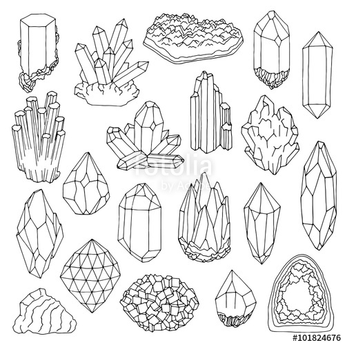 500x500 Hand Drawn Line Crystal, Mineral, Gem Stock Image And Royalty