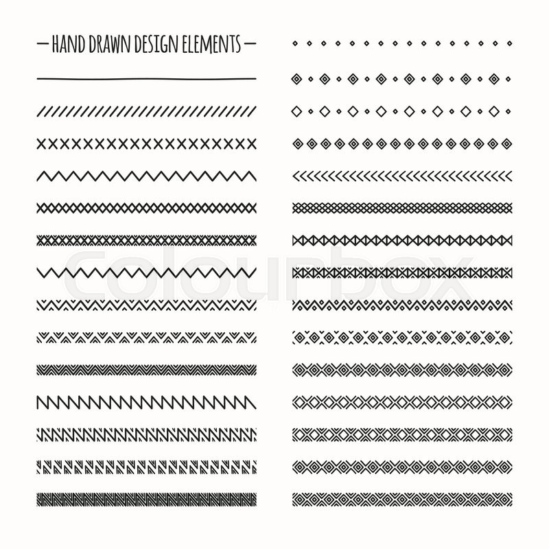 800x800 Hand Drawn Vector Line Border Set And Scribble Design Element