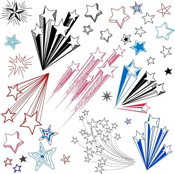 600x598 Hand Drawn Star Shape Design Elements Free Vector In Adobe
