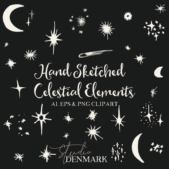 570x570 Hand Sketched Celestial Clipart