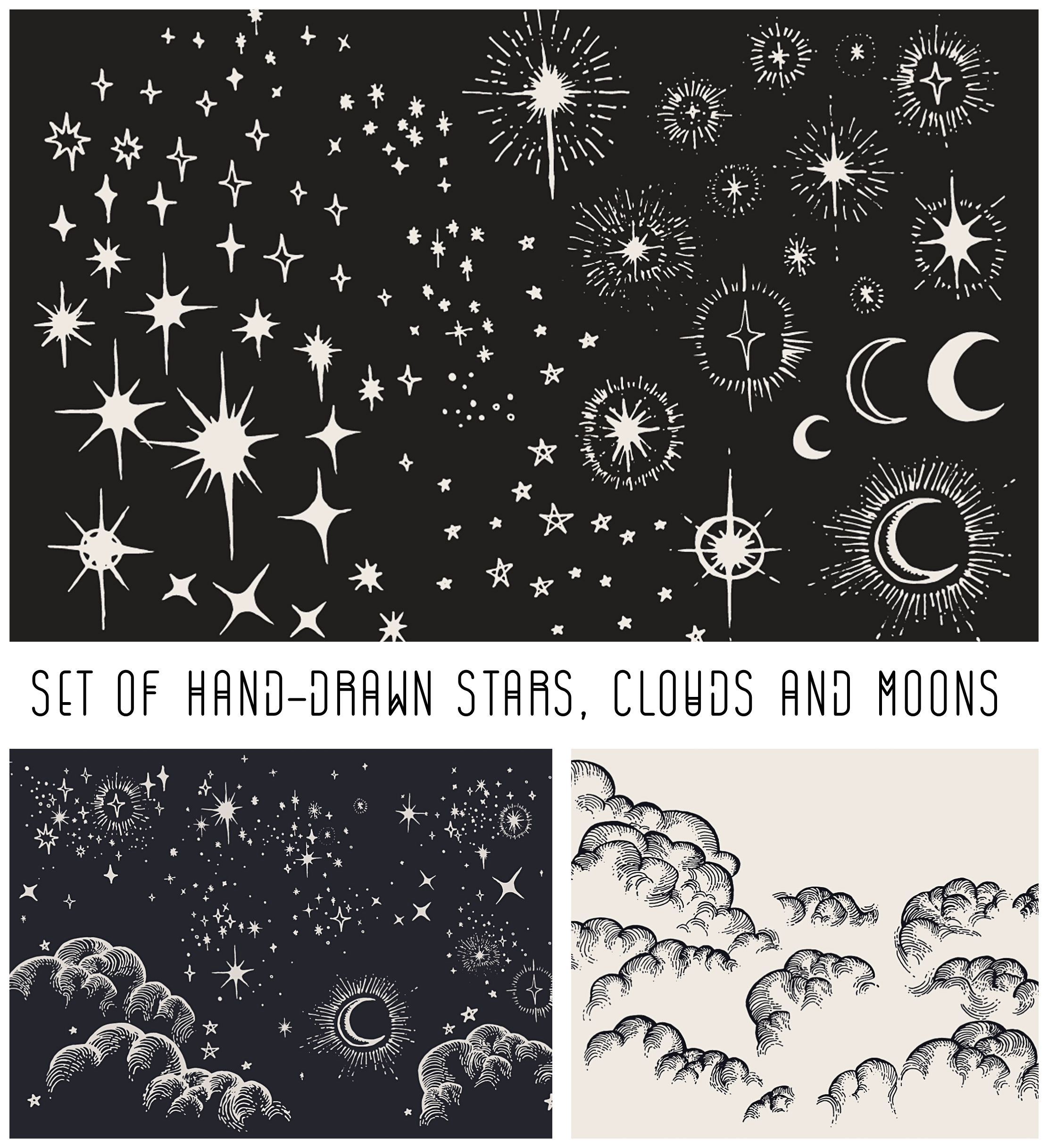 2222x2433 Hand Drawn Moon, Cloud And Stars Vector Set Free Download