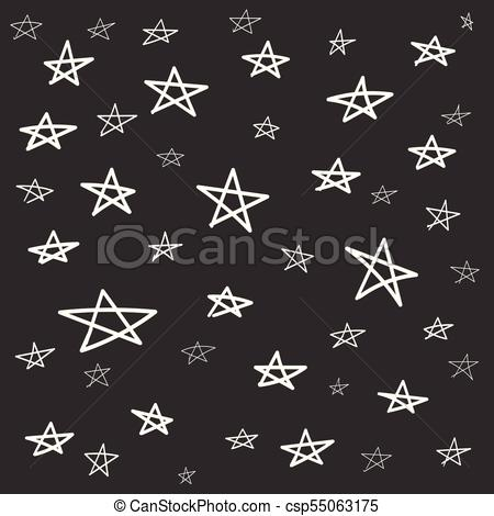 450x470 Hand Drawn Star Pattern With Ink Doodles. Simple Vector