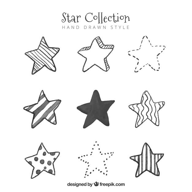 626x626 Hand Drawn Star Set Vector Free Download