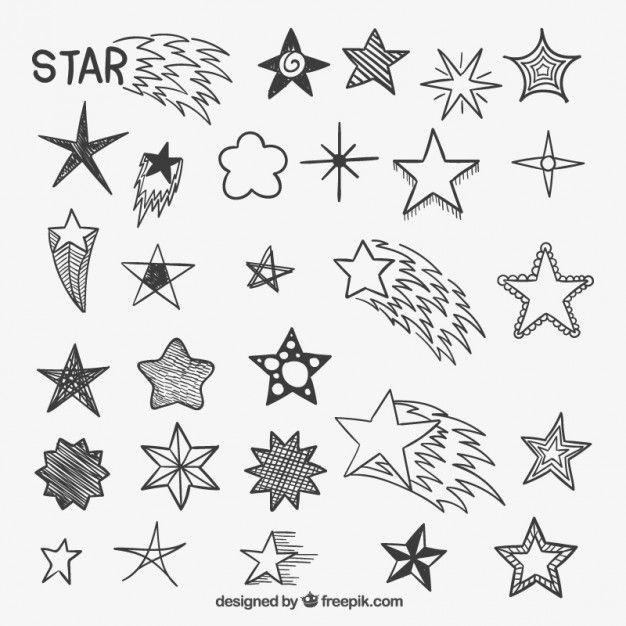 626x626 Hand Drawn Stars Free Vector Nordic Style Design