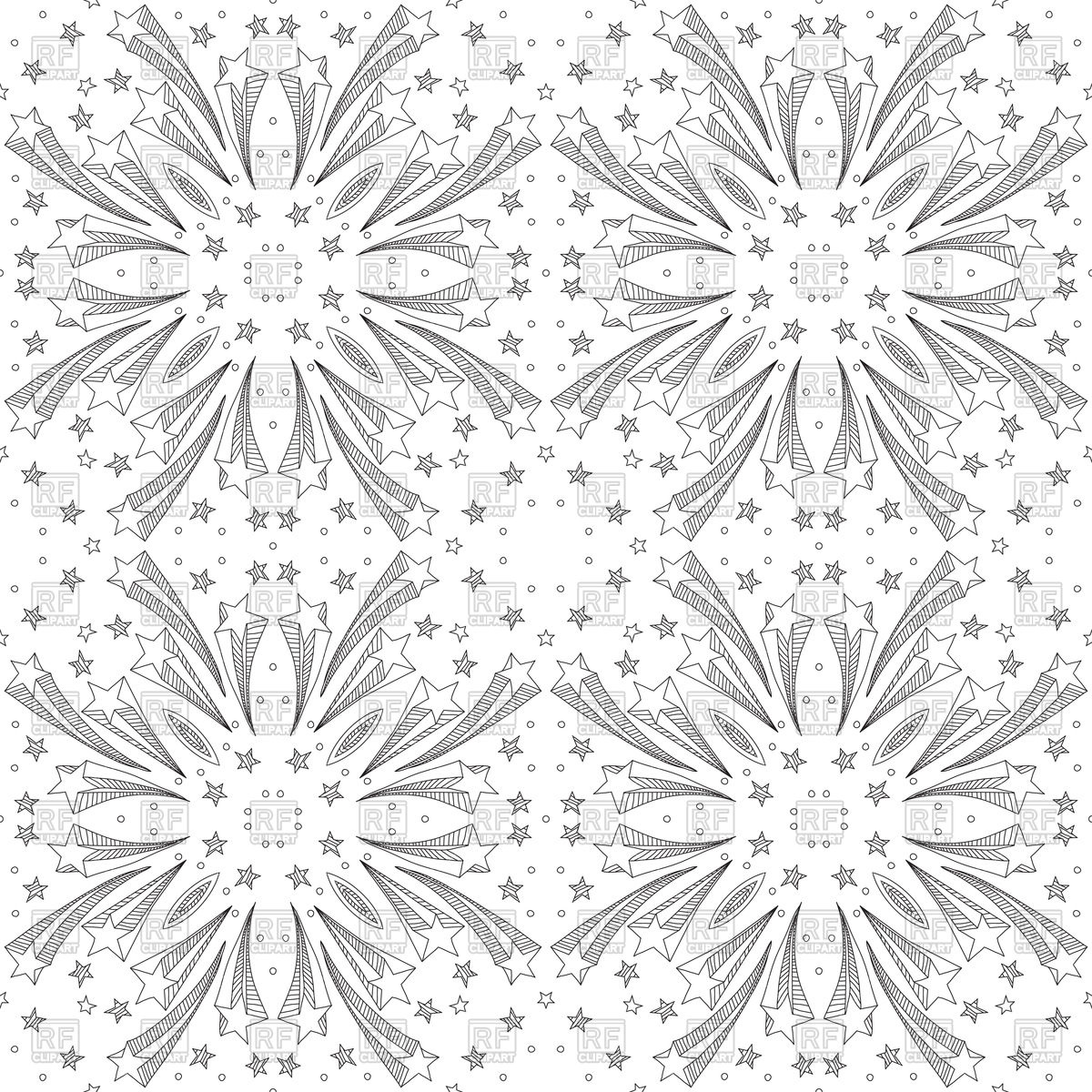 1200x1200 Seamless Pattern Made Of Black Hand Drawn Stars Vector Image