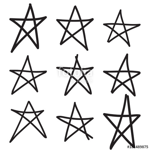 500x500 Set Hand Drawn Star. Vector Collection Of Ruggedly Handdrawn Stars