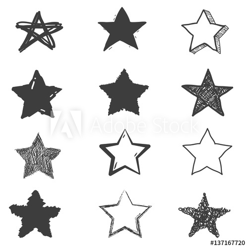 500x500 Set Of Cute Hand Drawn Star. Doodle Style Sketching. Vector