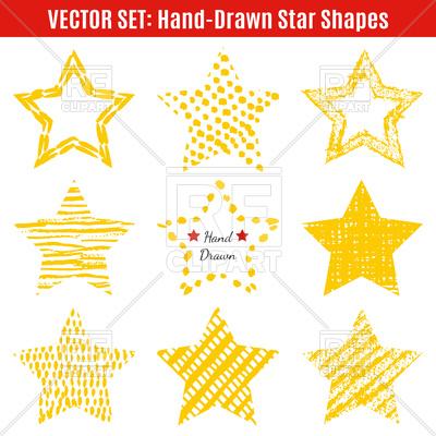 400x400 Set Of Hand Drawn Yellow Star Shapes Vector Image Vector Artwork