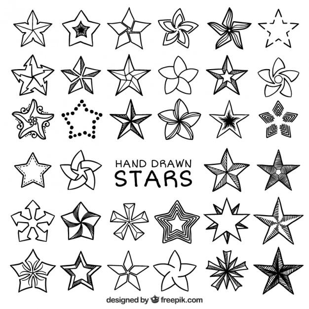 626x626 Fantastic Set Of Hand Drawn Stars Vector Free Download