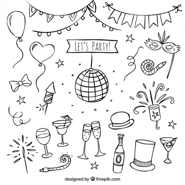 626x626 Hand Drawn Party Elements Vector Free Download